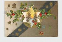 PPC POSTCARD NEW YEAR GREETINGS STAR HOLLY MISTLETOE GOLD EMBOSSED #2
