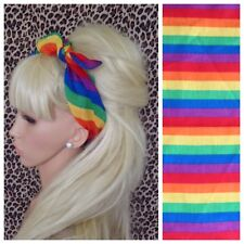 NEW RAINBOW MULTICOLOUR STRIPE PRINT COTTON BANDANA HEAD HAIR NECK SCARF RETRO