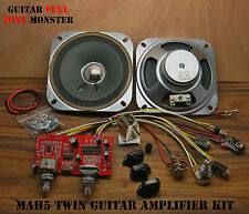 "TONE MONSTER MAH5 Guitar Amp TWIN KIT 5W Overdrive MP3 HDPH 2X4"" SPKR Cigar Box"