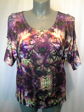 Ladies Womens Short Sleeve Round Neck Stretch Blouse T-Shirt Top Millers Size 16