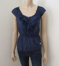 Abercrombie Women Ruffle Lace Top Size XS Shirt Blouse Navy Blue
