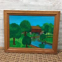 "Vintage 1981 Covered Bridge Scenic Oil Painting 18.75"" x 14.75"" Signed Framed"