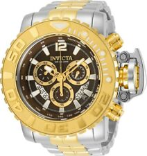 Invicta Mens 70MM Sea Hunter Two-Tone 200M Swiss Brown Dial SS Bracelet Watch