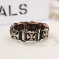 Cool Unisex Men's Stainless Steel Genuine Leather Bracelet Cuff Wristband Bangle