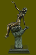 Handcrafted Erotic Nude Woman two Patina Bronze Sculpture Marble Figurine Ef