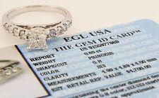 1.38 ct 14K White Gold Princess Cut Diamond Engagement Ring EGL-USA Rtl $4,700