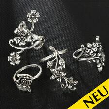 NEU 🌸 VINTAGE Ringe 4er SET Flower BLUME Boho ROSE Hippie Style 🌸 53 54 55