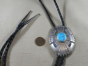 TOMMY SINGER natural turquoise Navajo bolo tie with overlay designs