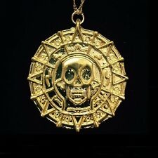 """Gorgeous 1-1/2"""" Aztec Coin Gold Plated 18"""" Chain Necklace."""