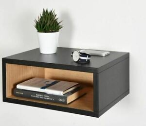 Open floating bedside table in black and oak brand new