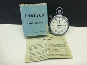 Vintage THALSON Germany LEVER 7 Jewels Mechanical Wind STOPWATCH Shockproof BOX