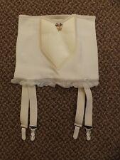 "Vtg 1950s NEW NOS White Rubber & Rayon Open Bottom 4 Garters Girdle S/24"" Pin Up"