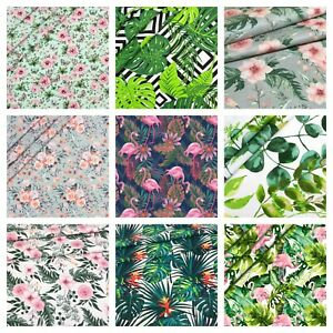 FLOWERS LEAVES SOLD BY BIG FAT QUARTER 50x80cm 100% COTTON FABRIC, CRAFT, SEWING