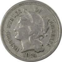 1874 3c Nickel Three Cent Genuine