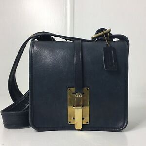 Vintage Coach Navy Blue Courier Hasp Lock 60s Pre Creed Bonnie Cashin (Re)Loved
