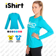 LADIES ULTRA SOFT TEES T-SHIRTS POLY COTTON LONG SLEEVE TRAINING ACTIVEWEAR
