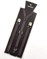 """NEW Punk Skinny Dark Coffee Brown Leather Vintage SUSPENDERS SUPER NARROW 1/2 """""""