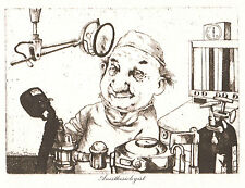 *Vintage CHARLES BRAGG 1973 Duotone Litho From Etching ANESTHESIOLOGIST Doctor