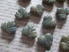 Glass Leaf Beads - Gray Maple Leaves - 13mm X 11mm - Leaf Charms - Leaf Pendants