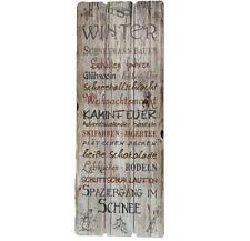 Shabby Chic Wandschild Schild Bild Winter Landhaus Vintage Holz 80 x 30 cm