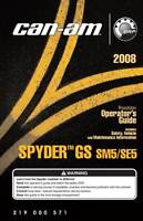 New Can-Am Spyder 2008 GS SM5 SE5 Roadster Owners Operators Manual Paperback