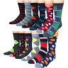 Men's Premium Cotton Blend Colorful Patterned Dress Casual Socks (12 Pairs)