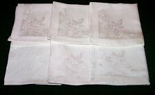 "6 Vintage Double Damask Napkins, 12"", Winter White, Rose Design, c1940"