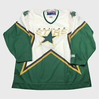 Vintage Made In Canada CCM Knit Dallas Stars Hockey Jersey Size XL White Home