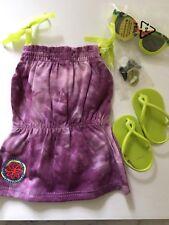 American Girl Lea Beach Dress Purple Dress, Sandals, Hair Clip Sunglasses NWOB
