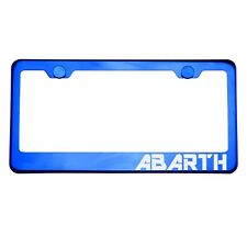 Blue Chrome License Plate Frame ABARTH Laser Etched Metal Screw Cap