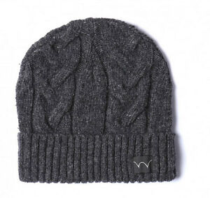 Edwin Shackle Beanie Hat Charcoal Watch Cable Cap Wooly Ship internationally