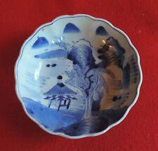 Antique Japanese Porcelain Bowl Blue and White Mountain Landscape 19th century