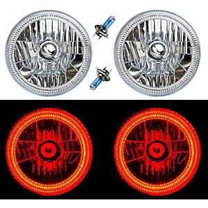 "7"" SMD Red LED Halo Angel Eyes H4 Headlamp Headlight Halogen Light Bulbs Pair"