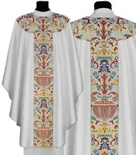 White Gothic Chasuble with stole GT115-B25 Blanche Casulla Blanca Casula Bianca