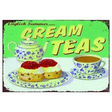Cream teas cafe kitchen  Retro Metal Wall Plaque Art Vintage  tin Sign tin