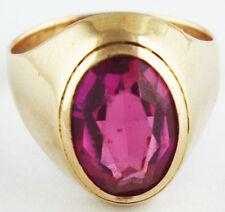 Vintage Soviet Solid Gold ring 14K 583 Pink Ruby 7 gr Russian USSR size 8.5