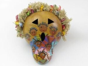 Hand Painted and Decorated Ethnic Gourd Mask Wall Hanging