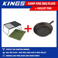 Kings Camp Fire BBQ Plate + Skillet Pan Cooking Camping Hotplate