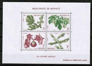 MONACO Fig Tree 4 Seasons - 1983 Souvenir Sheet - Scott # 1376 - L@@K!!!