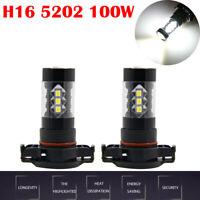 2X 100W 5202 H16 POWER SUPER WHITE LED FOG LIGHTS DRIVING BULBS DRL 6000K