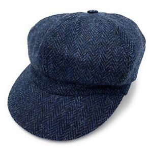 Women's Harris Tweed Baker Boy Cap Navy Herringbone Made in the UK