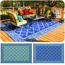 RV Patio Mat Outdoor Rug Reversible Camping Picnic Carpet Deck Rug Indoor Cover