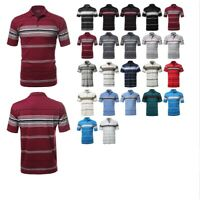 FashionOutfit Men's Basic Casual Everyday Stripe Polo Short Sleeves T-Shirt