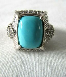 Judith Ripka Sterling Silver Turquoise & Diamonique Ring Size 8