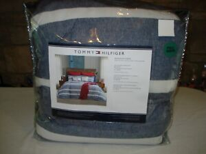 Tommy Hilfiger WINDSOR STRIPE Comforter Set FULL/QUEEN 3 Pc. Set BLUE/WHITE