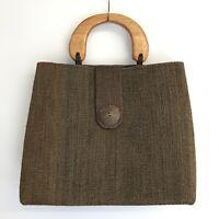 Boxy Retro Woven Trapeze Handbag w Round Circular Wooden Handles Boho Bag Purse
