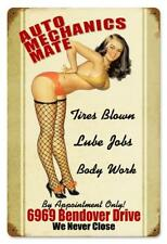 Auto Mechanic Mate Pin-Up Metal Sign