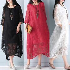ZANZEA Women Oversized Lace Crochet Lining Crew Neck Loose Shirt Long Maxi Dress