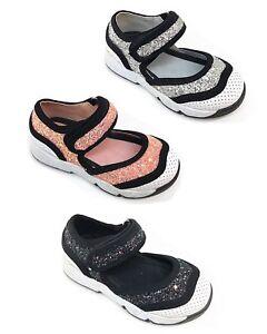 New Kids Girls Infant Children Glitter Skate Pumps Plimsolls Trainers Shoes
