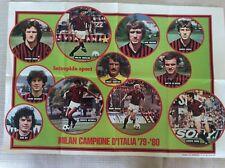 POSTER MANIFESTO CALCIO SQUADRA MILAN CAMPIONE ITALIA 1979/80 INTREPIDO SPORT